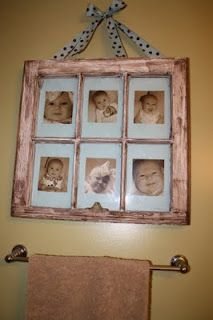 I made one just like this for my good friend, Jody.  I also put a shelf on the bottom edge so she could line up votives for lighting. I used b/w photos of her two children from birth to present.  She LOVED it! I was proud.