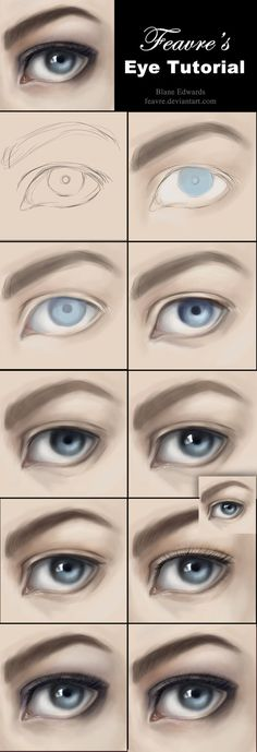 How to Paint Realistic Eyes Tutorial by feavre on deviantART via www.cgpin.com