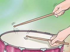 "Learn your snare drum rudiments. The basic ""single"" stroke and a ""double"" stroke are absolutely essential to developing your limb independence and drum complexity. If you strike the drum with one beat from each alternating hand, you have a single stroke pattern. However, if you strike the drum with one downward movement from each alternating hand and let the stick bounce on each alternating stroke to get two hits per stroke, you have a double stroke pattern."