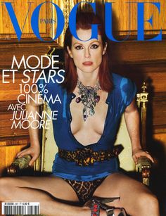 Julianne Moore cleavage and naughty leg pose for Vogue