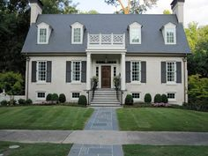 white house gray door wood shutters - Google Search