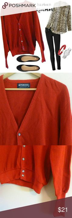 "Vintage 70s Boyfriend Cardigan - Size M A slouchy vintage cardigan from the 70s. This piece is a gorgeous unfaded rosso corsa red. I love the way these cardigans fit - they have a boyfriend / grandpa shape that is so flattering for a girl and do classically tailored for a guy. V-neckline and mother-of-pearl buttons up the front. Long sleeve cuffs that can be rolled up or left long, over the hand. Bust: 41"", waist: 28-38"", length: 26.5"", size: vintage M (PLEASE CHECK MEASUREMENTS), label…"