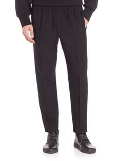 ALEXANDER WANG Cropped Pin-Tuck Tailored Trousers. #alexanderwang #cloth #trousers