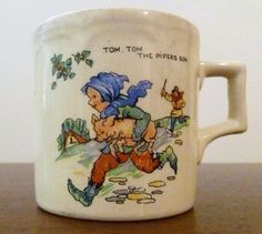 Vintage Nursery Mug Tiny Tom Tom The Pipers Son China & Dinnerware Pottery