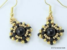 Black Obsidian and Gold Beadwork Earrings