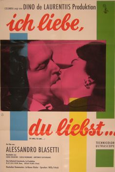 I Love You Love (io amo, tu ami). german poster. 1960 Italian documentary about kisses all over the world