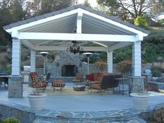 free standing patio cover with high ceiling and chandelier - Free Standing Patio Cover Designs