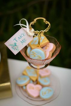 Alice in Wonderland birthday party cookies! See more party planning ideas at CatchMyParty.com!