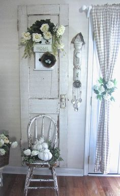 Chippy Bentwood Chair/Old Door/Chimes made from old silverware Junk Chic Cottage