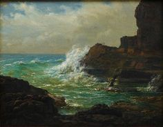 Lower part of the Castle Rock below the Lighthouse, Cape Schanck, Victoria by Eugene von Guérard :: The Collection :: Art Gallery NSW