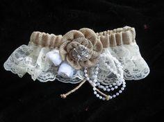 Burlap Bridal garter set or prom garter ivory by thealteredchick, $45.00