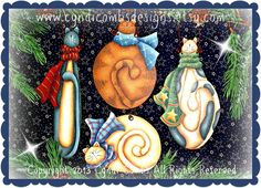 CC122 - Wynter Kitties Ornaments - Painting E Pattern - pinned by pin4etsy.com