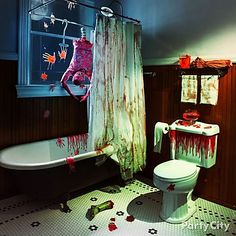 Blood bath anyone? Bloody gel clings, body parts & a skinned torso will transform the power room into the murder room for your halloween event....
