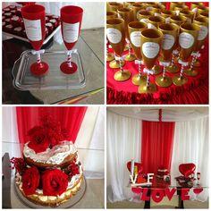 1- Duas taças vermelhas personalizadas e laçinhos delicados ( noivos) 2- Taças douradas personalizadas e laçinhos delicados ( lembrancinhas) 3- Bolo Nakep cake com rosas vermelhas naturais 4 - Decoração ( vermelho e branco)