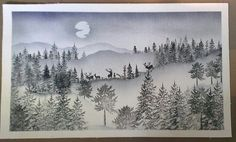 Stampscapes winter scene with elk