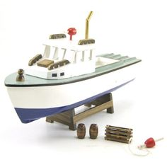 Wood Crafted Lobster Boat Model Replica Collectible, 9.5-inch, Nautical Decor Nautical Collection How To Make Lobster, Lobster Boat, Lobsters, Fun Projects, Wood Crafts, Kitchen Dining, Nautical, The Unit, Model