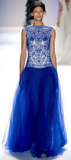 A great way to blend Dazzling Blue into your style. Isn't that dress beautiful? #fashion #style