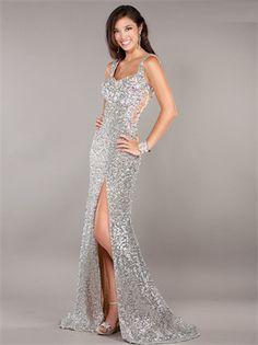 Show details for Stunning Mermaid Straps Floor Length Long Sequin Prom Dress