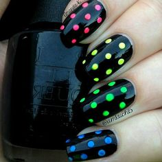Black and multi colored nail art
