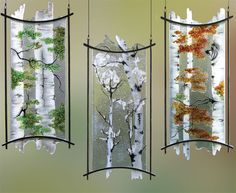 Custom fused etched art glass chandelier lighting fixtures.  by- Crystal Glass Studio
