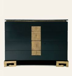 Chest of Drawers - Dramatic in ebony black with gold - Collection Pierre