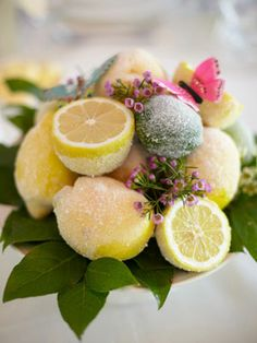 Dusting lemons and limes with sugar tones down their bright colors for a more muted and sophisticated palette. -The Knot