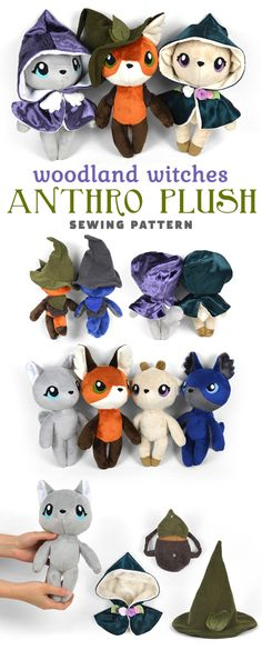 New Shop Pattern Woodland Witches Anthro Dolls Choly Knight Sewing Stuffed Animals, Stuffed Animal Patterns, Sewing Toys, Sewing Crafts, Plushie Patterns, Softie Pattern, Doll Sewing Patterns, Diy Y Manualidades, Sewing Projects For Kids