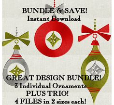 Christmas Ornaments Bundle of Designs - EMBROIDERY DESIGN FILE - Instant download - Dst Hus Jef Pes Exp Vp3 formats by StitchElf on Etsy https://www.etsy.com/listing/259439921/christmas-ornaments-bundle-of-designs