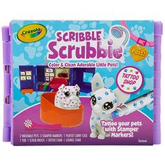 """Amazon has the Crayola Scribble Scrubbie Pets Tattoo Shop, Toy Pet Playset marked down from $15.49 to $7.49. That is 52% off retail price! TO GET THIS DEAL: GO HERE to go to the product page and click on """"Add to Cart"""" Final price = $7.49 Shipping is free on any purchase with your Prime… Plastic And Environment, Toy Bulldog, Ideal Toys, Pets 3, Little Pets, Animal Tattoos, Tattoo You, Scribble, Gifts For Girls"""