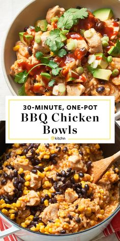 Burrito bowls filled with tender spiced rice, beans, corn, and tangy barbecue chicken. Chicken Rice Bowls, Chicken Burrito Bowl, Chicken Burritos, Burrito Bowls, Freezer Burritos, Chicken Fajitas, Beef Recipes, Chicken Recipes, Easy Recipes