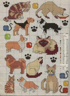 Artes da Nique: Graficos de ponto cruz - gatos e cachorros