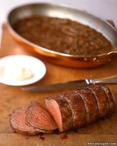 "Beef Tenderloin With Shallot Mustard Sauce - Martha Stewart Recipes  Another pinner said: ""Beef Tenderloin w/ shallot mustard sauce. i PROMISE you...this is THE best recipe you will ever make. it's the sauce really. it will be your new go to dinner for all holidays."