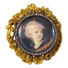 Boucheron Diamond Gold Portrait Brooch | From a unique collection of vintage brooches at https://www.1stdibs.com/jewelry/brooches/brooches/
