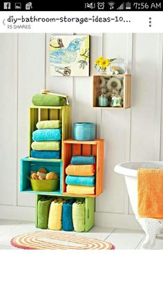 painted wood crates as a fun storage for a family bath - 17 Repurposed DIY Bathroom Storage Solutions Creative Bathroom Storage Ideas, Bathroom Towel Storage, Bathroom Storage Solutions, Bath Storage, Diy Storage, Bathroom Ideas, Storage Design, Bathroom Interior, Bathroom Furniture