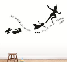Peter Pan And Wendy Flying Silhouette Tattoo Peter Pan Never Grow Up