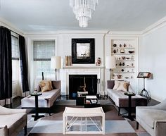 Chaise lounges by the fireplace. A personal dream. Thom Filicia design.