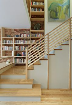 Staggering Modern Bookshelves decorating ideas for  Staircase Eclectic design ideas with Staggering  abstract art book
