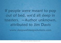 If people were meant to pop out of bed, we'd all sleep in toasters. ~Author unknown, attributed to Jim Davis