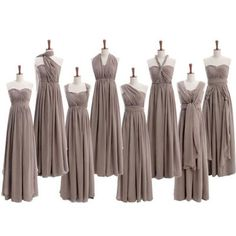 Most Popular Convertible Chiffon Gray Formal Online Cheap Long Bridesmaid…