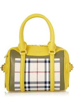 Gorgeous little bag Little Bee checked canvas and textured-leather tote #accessories #women #covetme #burberryprorsum