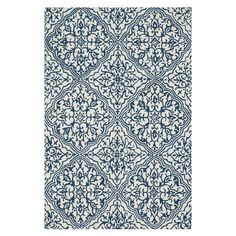 Anchor your living room or master suite with this hand-hooked rug, showcasing an eye-catching medallion motif in blue and ivory.   Produ...