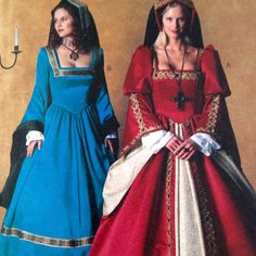 """McCall's pattern 3282 is for a Tudor #costume sizes 6 to 10 in Misses or Miss Petite."""" ... A or B has sleeve, contrast and trim variations, lined bodice and back zipper closure; instructions and pattern pieces for headpiece also included""""."""