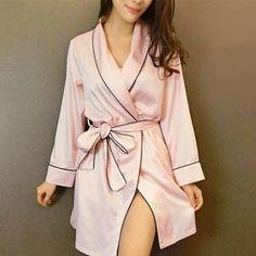 932b1d09c0 Pink Satin Robe Sexy Peignoir Femme Soie Satin Robes Women Silk Robes For  Women Pijamas Batas De Seda Peignoir Kimono Robe