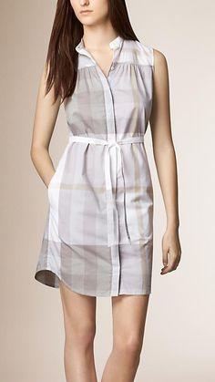 Gris minéral Robe chemise en voile de coton à motif check - Image 1