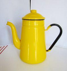 Vintage Enamelware Coffeepot YellowCirca 1940sGooseneck by linbot1, $20.00