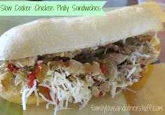 Slow Cooker Chicken Philly Sandwiches This is a recipe we've made a few times and it gets better every time. There are so many great flavors infused in this meal and Slow Cooker Chicken Philly Sand. Slow Cooker Recipes, Crockpot Recipes, Chicken Recipes, Cooking Recipes, Wrap Recipes, Dinner Recipes, I Love Food, Good Food, Philly Sandwich