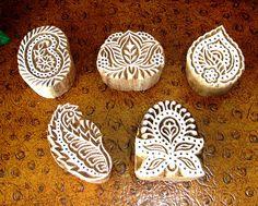 Hand Carved Stamps: Indian Printing Blocks, Wood Block Stamp, Flower, Leaf, Paisley, Set of 5, India