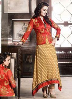 Ameesha Patel Cream And Red Zari Work Brasso Anarkali Suit http://www.angelnx.com/Salwar-Kameez