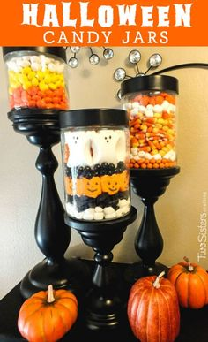 These Halloween Candy Jars filled with Halloween candy make a great decoration, are so easy make and you can fill them with holiday-themed candy year-round Halloween Bunco, Halloween Crafts For Kids, Holidays Halloween, Halloween Treats, Halloween Prop, Spooky Decor, Halloween Decorations, Christmas Decorations, Holiday Candy