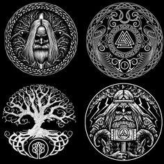 No photo description available. Viking Tattoo Sleeve, Viking Tattoo Symbol, Norse Tattoo, Viking Tattoo Design, Celtic Tattoos, Viking Tattoos, Wiccan Tattoos, Inca Tattoo, Indian Tattoos